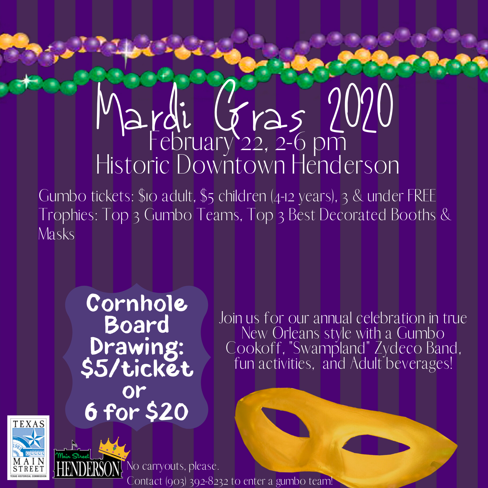 Mardi Gras Event Downtown Henderson on February 22 2020